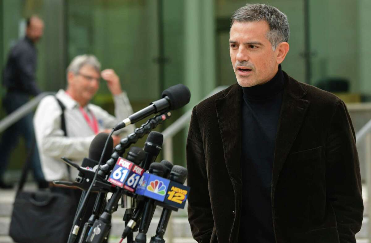 Fotis Dulos, charged with two counts of tampering with evidence and hindering prosecution in the disappearance of his wife, speaks outside of the Stamford Superior Court following a pre-trial hearing Friday, October 4, 2019, in Stamford, CT.