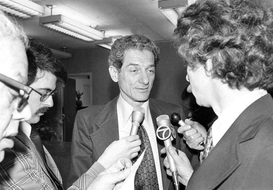Deputy District Attorney Samuel Mayerson of Los Angeles County, answers questions in San Francisco on April 13, 1976, after a summit meeting by attorneys who figure in possible federal and state prosecutions involving Patricia Hearst. (AP Photo/Jim Palmer) Photo: Jim Palmer/AP