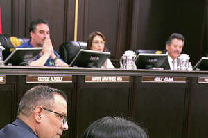 Mayor Pete Saenz and council members listen as Interim co-City Managers Robert Eads and Rosario C. Cabello read a statement at the start of a special meeting at city council chambers, Wednesday, October 2, 2019, detailing the Boil Water demand that happened throughout the city this weekend and continues in areas south and east of the city.