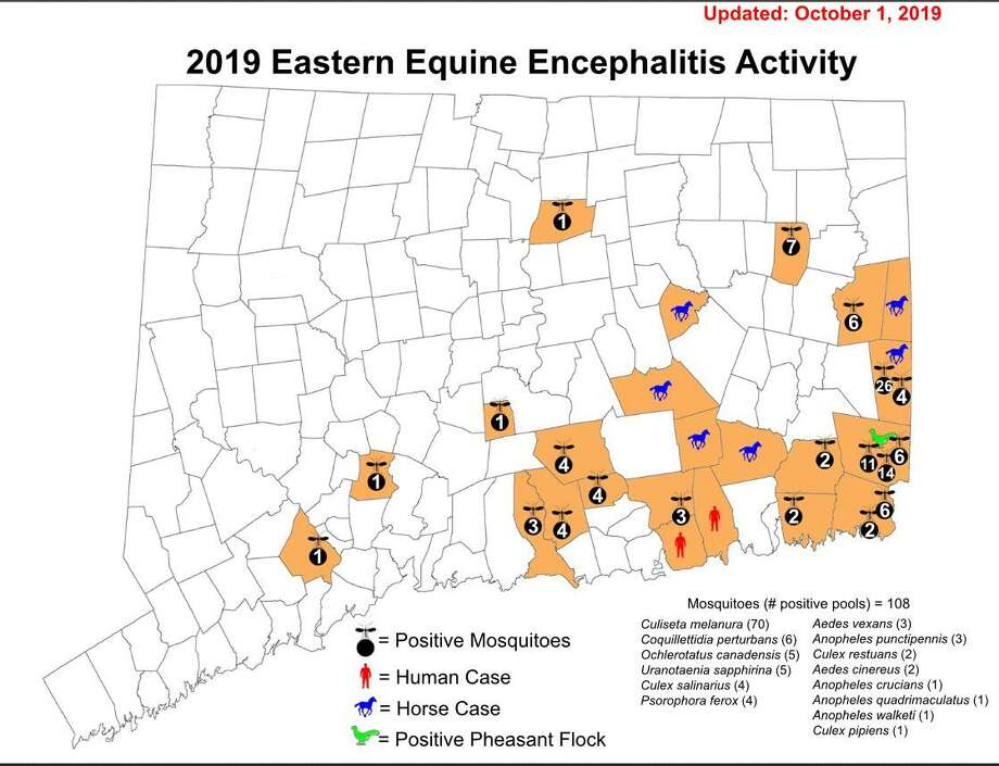 A map of Eastern Equine Encephalitis activity in the state as of Oct. 1, 2019. Photo: Contributed Photo / Connecticut Agricultural Experiment Station