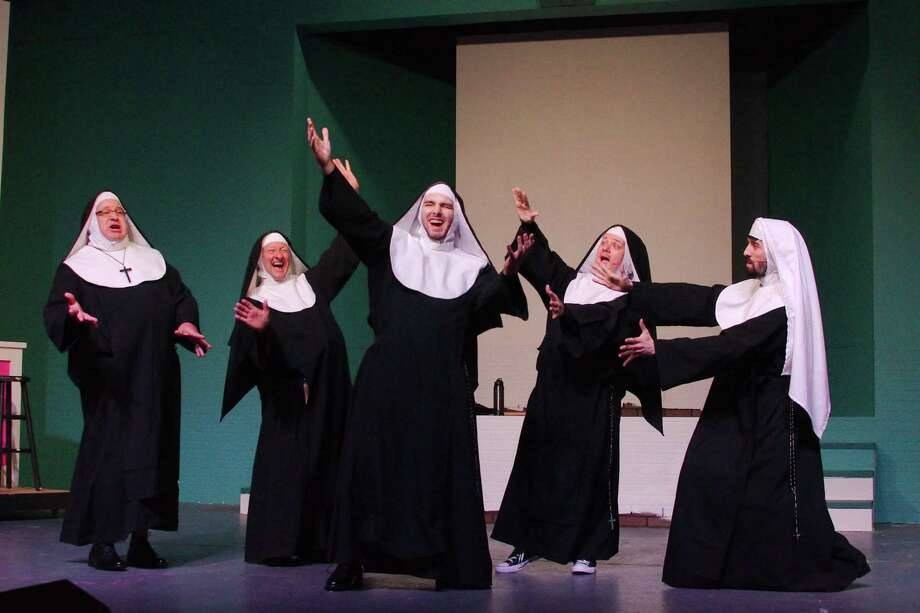 """Lonnie Tanner, left, Fred White, Jonathan Lammey, David Eck and JT Fischer hope to making laughing a habit for the audience at Art Park Players' production of """"Nunsense A-Men!"""" Photo: Kirk Sides / Staff Photographer / © 2019 Kirk Sides / Houston Chronicle"""