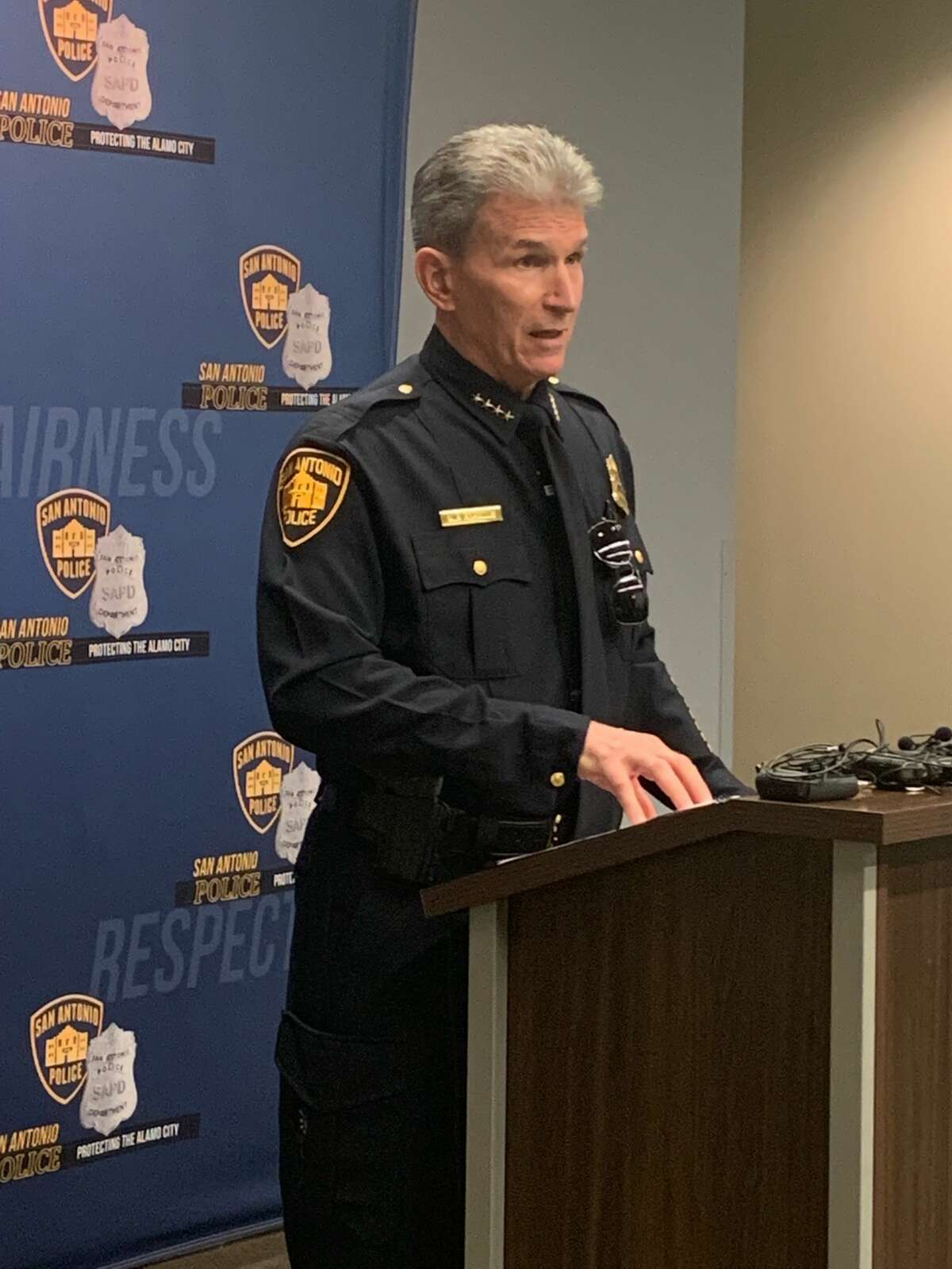 Chief William McManus is seen during a news conference Friday to discuss the injury of one of his officers after a Bexar County Sheriff's Office pursuit.