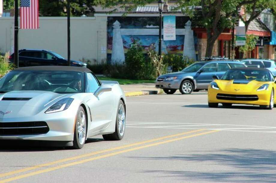 Team Corvette rolls into Frankfort on Friday as part of a four-day tour of the Grand Traverse Area. (Photo/Colin Merry)