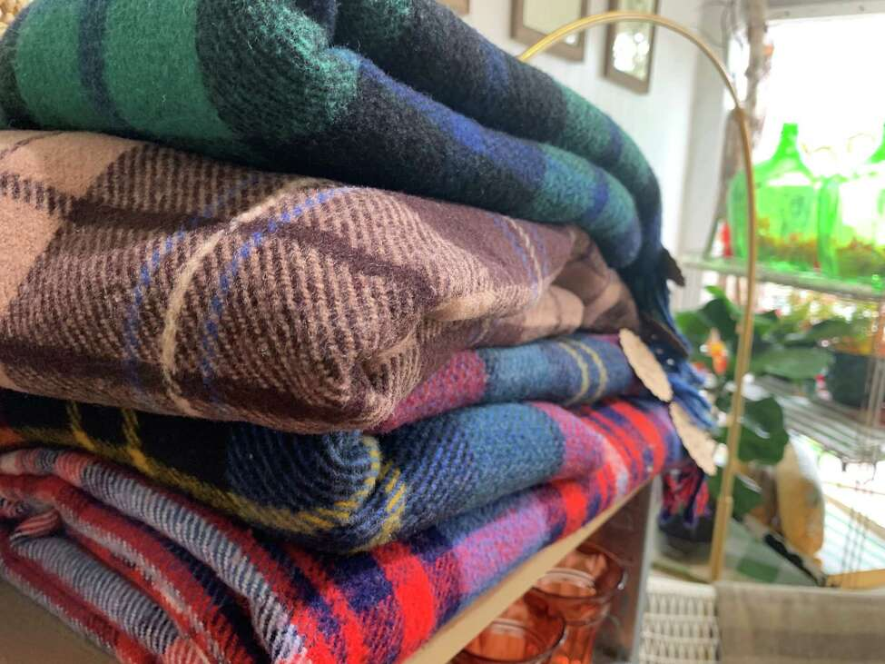 Wool blankets for sale ($95) inside b.inspired, Anne Brenner's Scotia shop. (Photos by Michael Williams/Times Union)