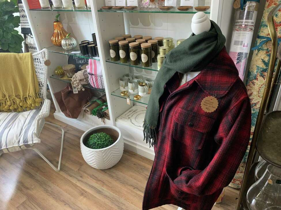 A wool jacket for sale ($85) inside b.inspired, Anne Brenner's Scotia shop.
