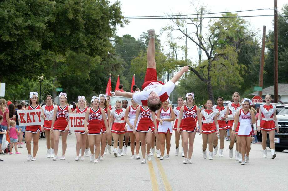 The Katy High School Cheerleaders participate in the Katy Rice Festival Parade in Katy on Saturday, Oct. 13, 2018. This year's parade is scheduled to start at 9 a.m. Saturday, Oct. 12. Photo: Craig Moseley, Houston Chronicle / Staff Photographer / ©2018 Houston Chronicle