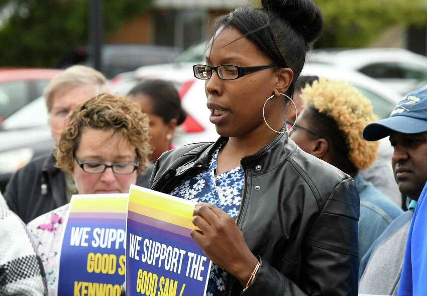 Teneisha Addison, who has worked at Bethlehem Commons as a Certified Nursing Assistant for six years, speaks during a rally outside the care facility on Friday, Oct. 4, 2019, in Delmar, N.Y. Workers at the Lutheran Care Network run facility were recently notified that their health benefits will be terminated. (Will Waldron/Times Union)