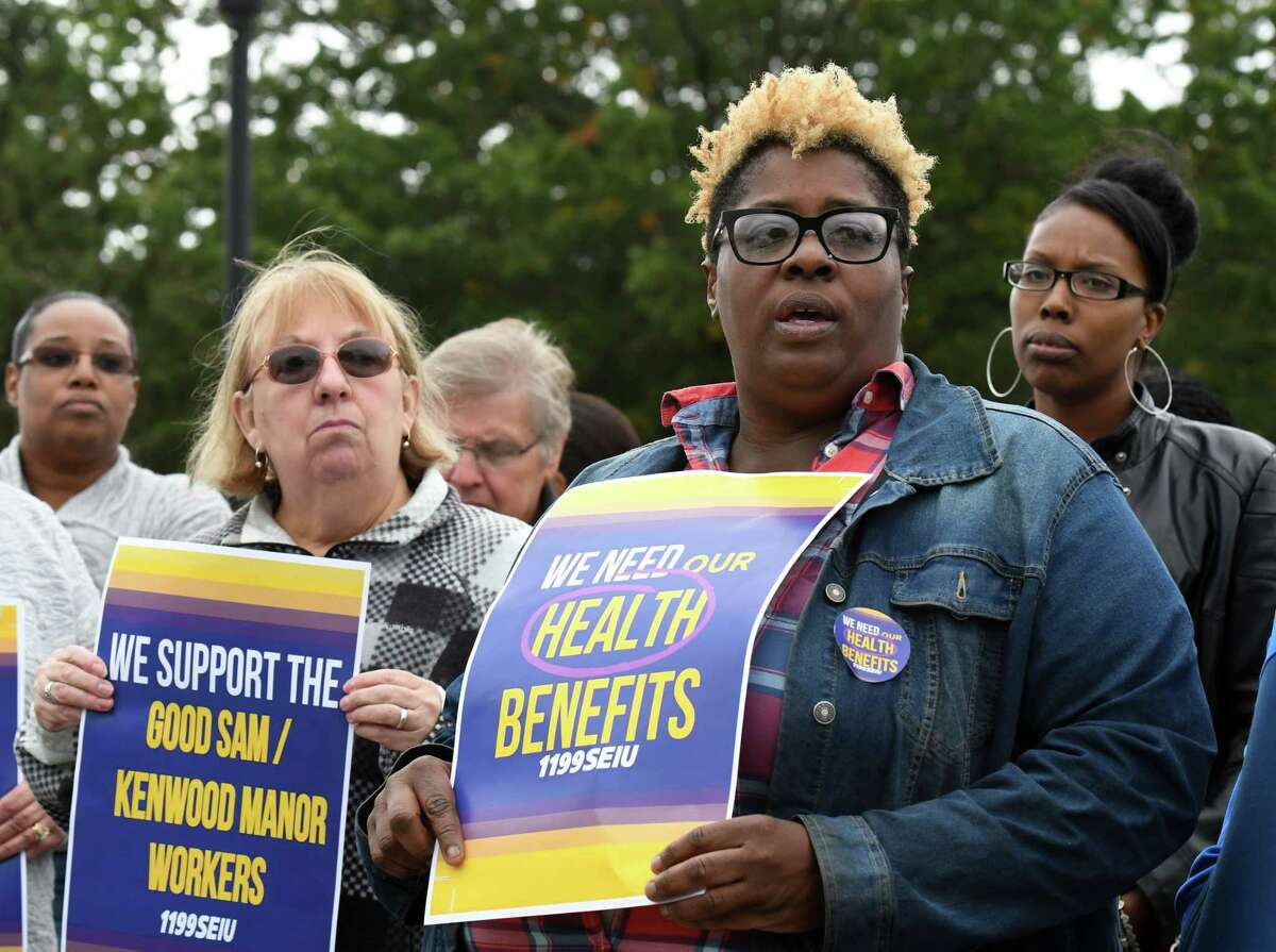 Cathy Brown, who has worked at Bethlehem Commons for 15 years, speaks during a rally outside the care facility on Friday, Oct. 4, 2019, in Delmar, N.Y. Workers at the Lutheran Care Network run facility were recently notified that their health benefits will be terminated. (Will Waldron/Times Union)
