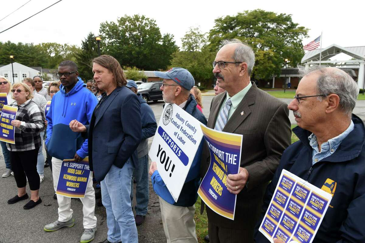 Gregory Speller, executive vice president 1199 SEIU, speaks during a rally outside Lutheran Care?•s Bethlehem Commons nursing home, where employees were recently notified that their health benefits will be terminated on Friday, Oct. 4, 2019, in Delmar, N.Y. (Will Waldron/Times Union)