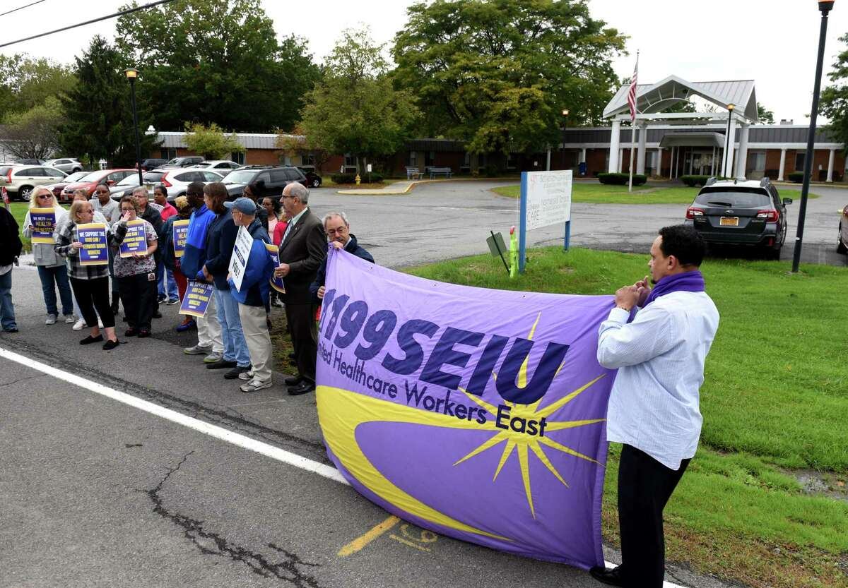 The nation's largest health care labor union, 1199SEIU, launched a nursing home reform campaign on Monday, Feb. 8, 2021. Health care workers and labor advocates rally outside Lutheran Care?•s Bethlehem Commons nursing home, where employees were recently notified that their health benefits will be terminated on Friday, Oct. 4, 2019, in Delmar, N.Y. (Will Waldron/Times Union)