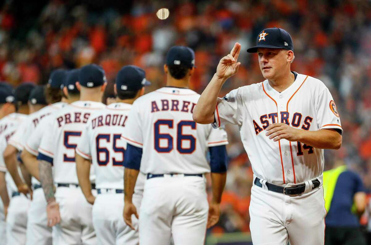 PHOTOS: Astros vs. Rays, ALDS Game 3 Houston Astros manager AJ Hinch (14) is introduced before Game 1 of the American League Division Series at Minute Maid Park on Friday, Oct. 4, 2019, in Houston. >>>See more photos from Monday's game ...