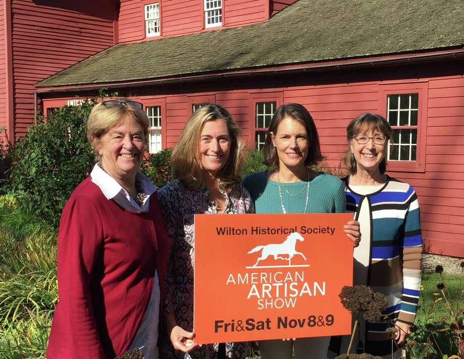 Preparing for the American Artisan Show at Wilton Historical Society are, from left, Chair Judy Higby, Party Chair Katy Williams and historical society Co-Directors Kim Mellin and Allison Sanders. Photo: Nick Foster / Wilton Historical Society / Wilton Bulletin Contributed