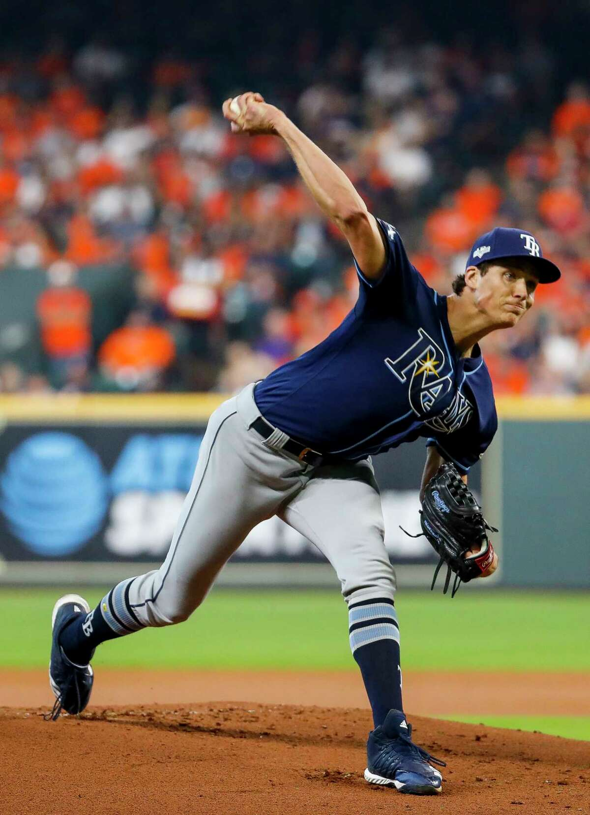 Tampa Bay Rays starting pitcher Tyler Glasnow (20) throw the ball against the Houston Astros during the first inning of Game 1 of the American League Division Series at Minute Maid Park on Friday, Oct. 4, 2019, in Houston.