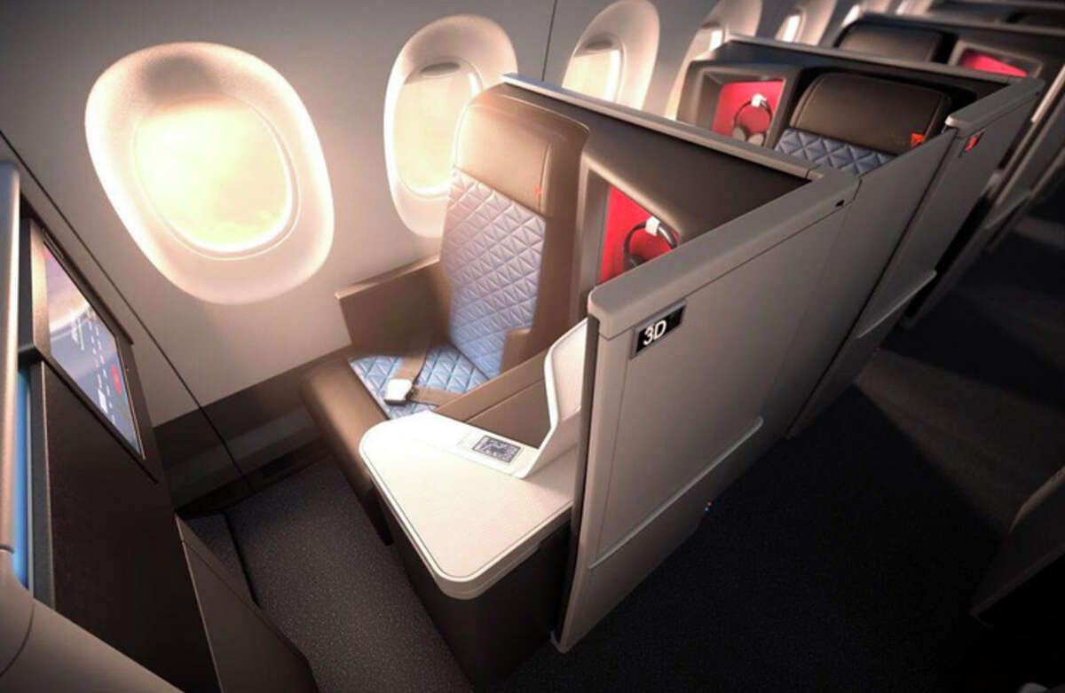 A Delta One suite on the airline's new A330-900neo, now flying from Seattle to Seoul.