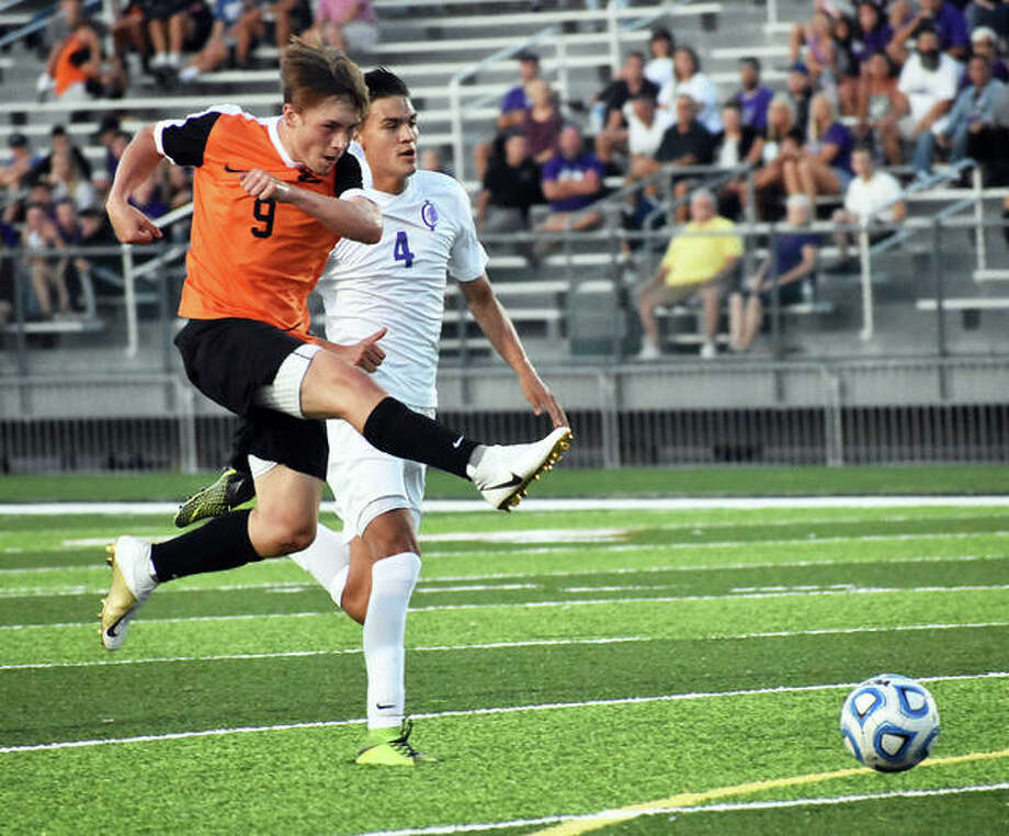Edwardsville's Cooper Nolan, left, scored three goals in the Tigers' 5-0 victory over Belleville West Thursday. Photo: Telegraph File Photo