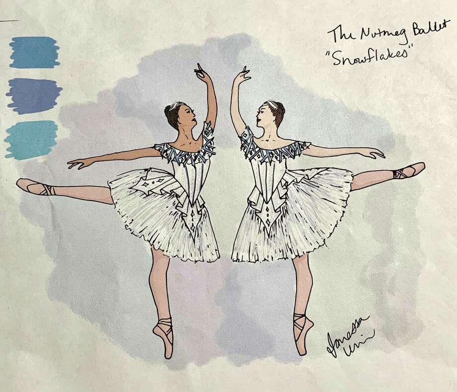 Designs for Snowflakes costumes by Nutmeg alum Janessa Cornell Urwin. Janessa is also creating costumes for Dew Drops, Flowers, Marzipan, Jesters and more for Nutmeg Ballet's newly imagined, 50th-anniversary 'Nutcracker,' opening in December. Photo: Contributed Photo