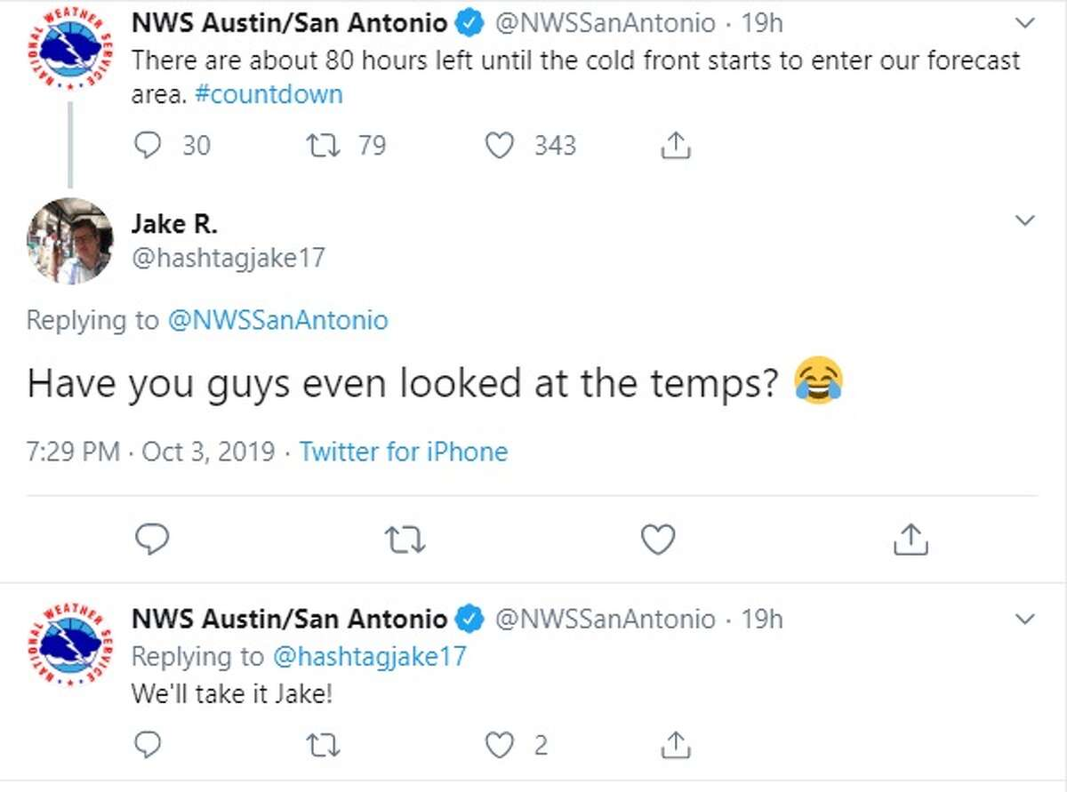 People comment on a tweet from the National Weather Service.
