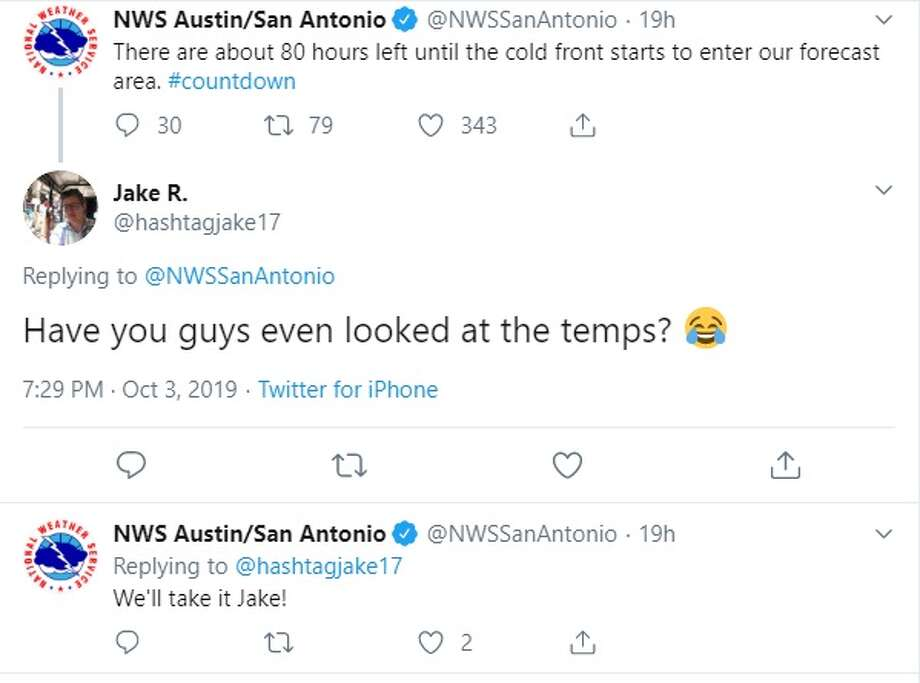 People comment on a tweet from the National Weather Service. Photo: Twitter: @hashtagjake17