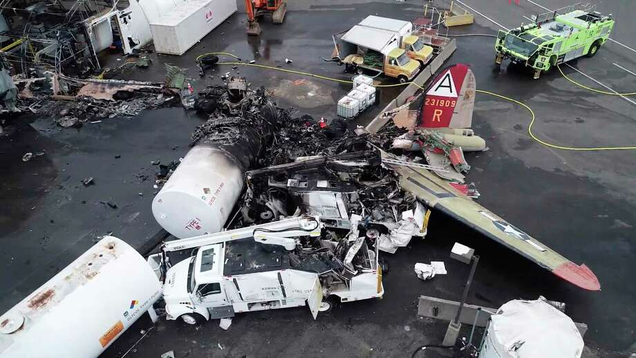 This image taken from video provided by National Transportation Safety Board shows damage from a World War II-era B-17 bomber plane that crashed Wednesday at Bradley International Airport, Thursday, Oct. 3, 2019 in Windsor Locks, Conn. The plane crashed and burned after experiencing mechanical trouble on takeoff Wednesday morning from Bradley International Airport. (NTSB via AP) Photo: Associated Press / National Transportation Safety Board
