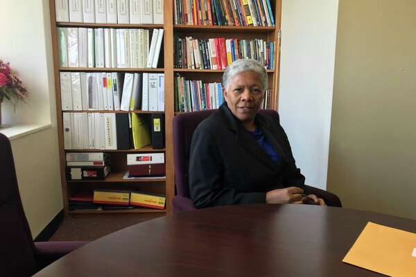 Iline Tracey, who is carrying out the regular duties of New Haven Superintendent of Schools for the month of October, in her office on Oct. 4, 2019.