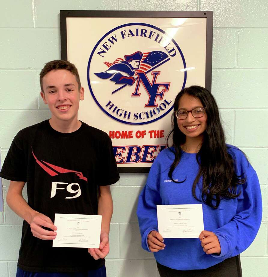 New Fairfield High School students Shreya Kanetkar, right, and Brendan Regan, left, were named Commended Students in the 2020 National Merit Scholarship Program. Photo: Contributed Photo / Contributed / The News-Times Contributed