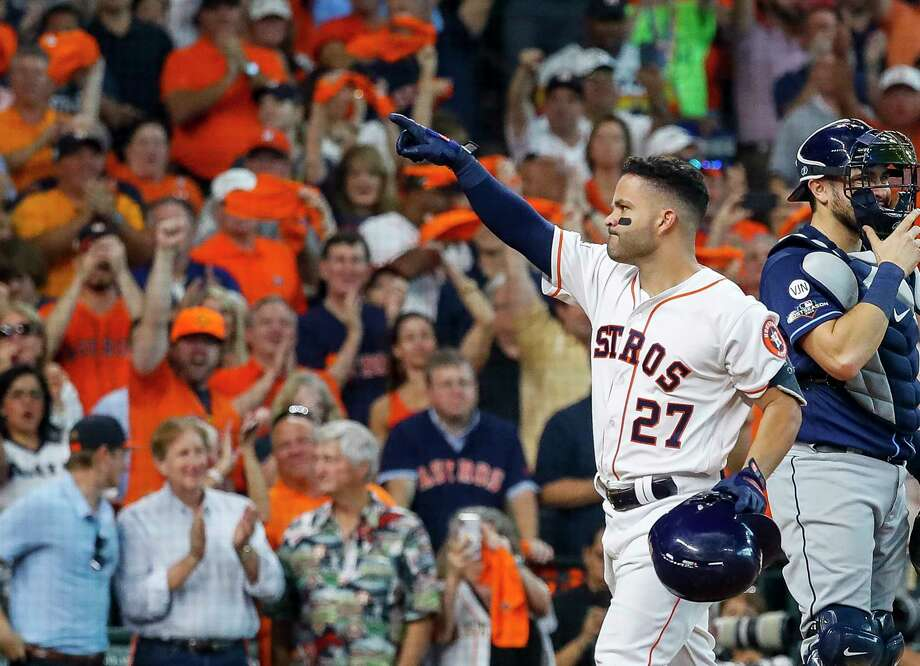 Houston Astros second baseman Jose Altuve (27) celebrates at home after hitting a two run homer during the fifth inning of Game 1 of the American League Division Series at Minute Maid Park on Friday, Oct. 4, 2019, in Houston. Photo: Karen Warren, Staff Photographer / © 2019 Houston Chronicle