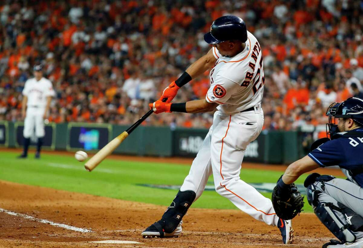Astros left fielder Michael Brantley ended his September slump with two singles to start October in Game 1.