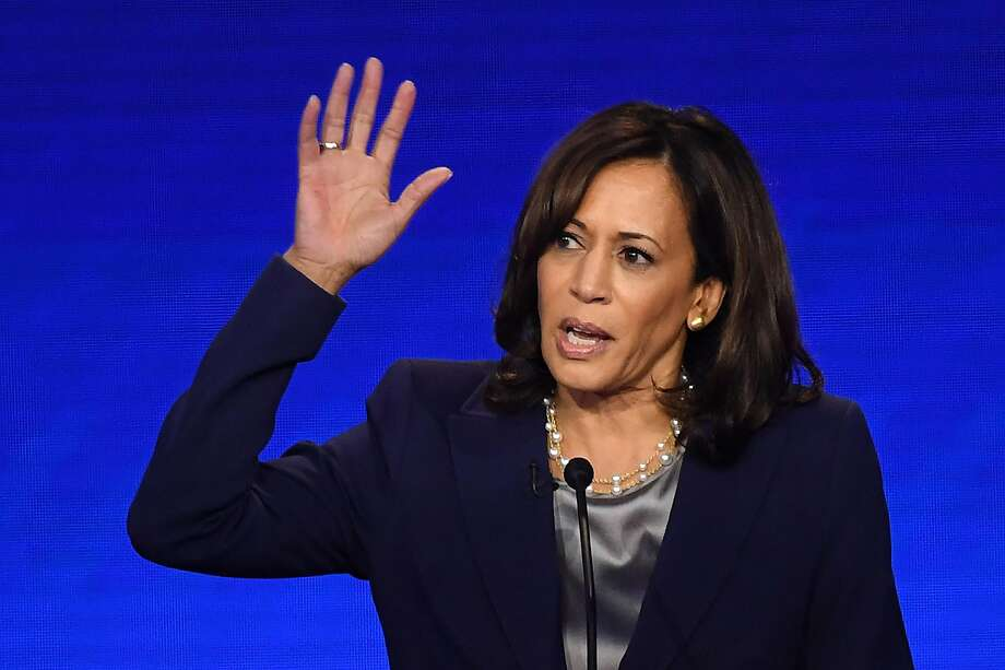 Recent polling shows Democratic presidential hopeful California Senator Kamala Harris mired in a distant fourth place, with support from fewer than 1 in 10 of those surveyed. Harris speaks during the third Democratic primary debate of the 2020 presidential campaign season hosted by ABC News in partnership with Univision at Texas Southern University in Houston, Texas in September, 2019. (Robyn Beck/AFP/Getty Images/TNS) Photo: ROBYN BECK/AFP /TNS