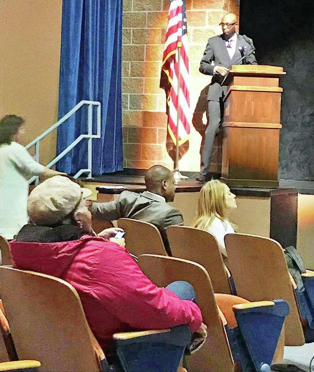 Channel 8 News investigative reporter Mario Boone moderates Thursday's mayoral debate between Democrat Ben Florsheim and Middletown Council Minority Leader, Republican Sebastian N. Giuliano.
