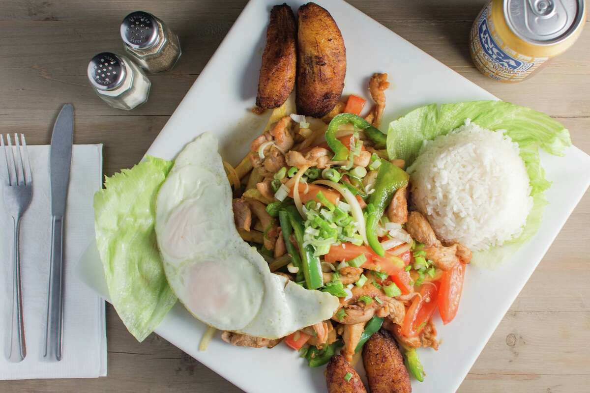 Peru's Chinese influence is seen in Fiesta Limena's Pollo Saltado, a stir-fried dish with chicken, sweet peppers, Peruvian spices and served with both potatoes and rice.