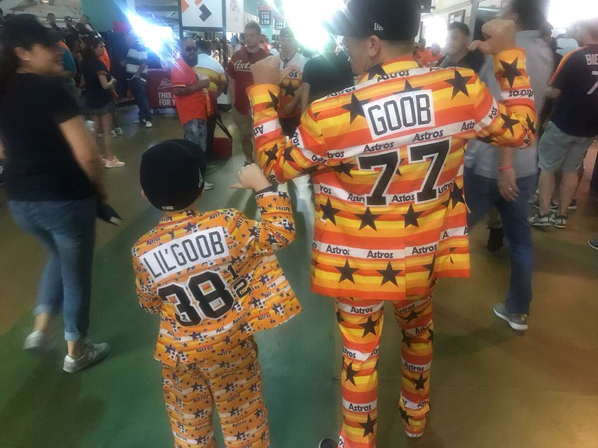 Goob and Lil' Goob are fixtures in Section 153 at Astros games. Lil' Goob got to skip school Friday, Oct. 4, 2019, his dad Goob said, to head to Minute Maid Park in Houston to watch the Astros play in Game 1 of the American League Division Series against Tampa Bay.