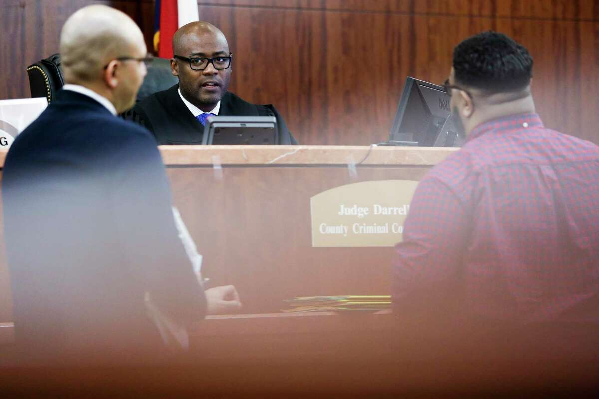 Judge Darrell Jordan, shown in this 2017 photo, announced he was canceling trials for defendants on bond for the next 45 days as the Harris County court system deals with coronavirus.