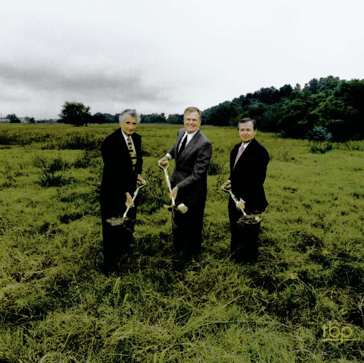 Participating in the groundbreaking for Second Baptist Church-West campus were, from left, Bruce Belin, Dr. Ed Young and Stanley Williams.