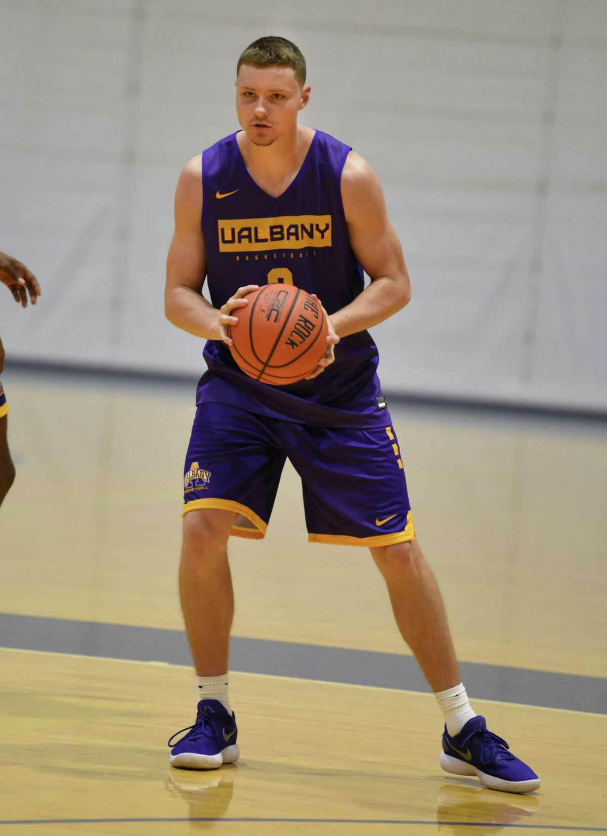 Trey Hutcheson looks to pass the ball during the first official practice for the University at Albany basketball team on Friday, Oct. 4, 2019 in Albany, N.Y. (Lori Van Buren/Times Union)