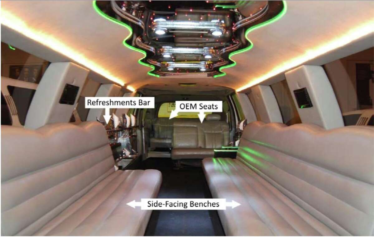 A 2010 photograph of the 2001 Ford Excursion limousine's interior, looking from the front of the vehicle toward the rear of the passenger compartment. The limousine was owned by Prestige Limousine in Wiliton when it crashed in Schoharie on Oct. 6, 2018, killing 20 people. (Courtesy of the previous owner, Advantage Transportation Group)