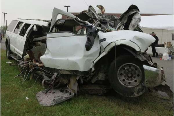 Side view of the 2001 Ford Excursion limousine included in the National Transportation Safety Board's report on the Oct. 6, 2018, limousine crash in Schoharie that killed 20 people.
