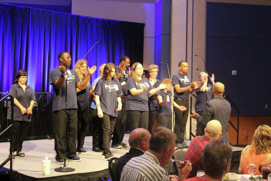 """The Reach Unlimited choir performed """"We Will Rock You"""" by Queen and """"Can't Stop The Feeling!"""" by Justin Timberlake during the luncheon Photo: Chevall Pryce"""