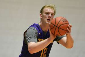 Mitch Doherty takes a jump shot during the first official practice for the University at Albany basketball team on Friday, Oct. 4, 2019 in Albany, N.Y. (Lori Van Buren/Times Union)