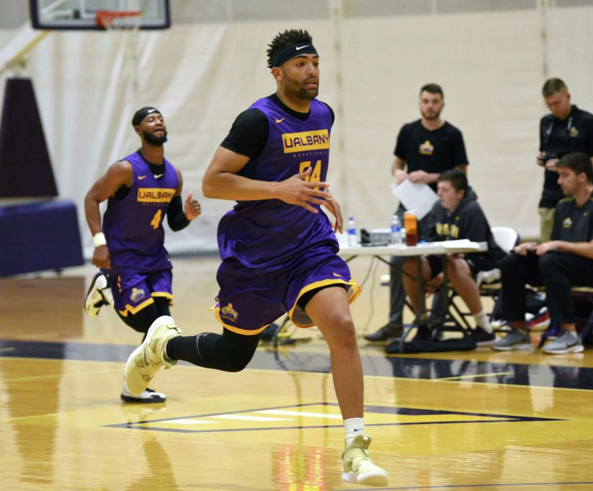 Kendall Lauderdale, #54, sprints down the court during the first official practice for the University at Albany basketball team on Friday, Oct. 4, 2019 in Albany, N.Y. (Lori Van Buren/Times Union)