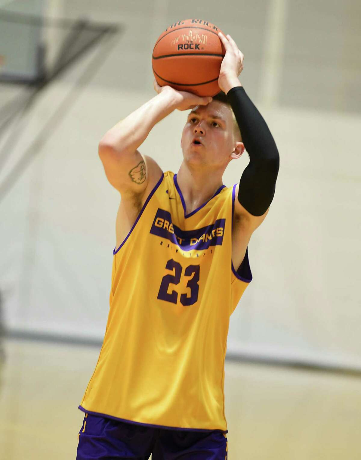 Sam Shafer takes a jump shot during the first official practice for the University at Albany basketball team on Friday, Oct. 4, 2019 in Albany, N.Y. (Lori Van Buren/Times Union)