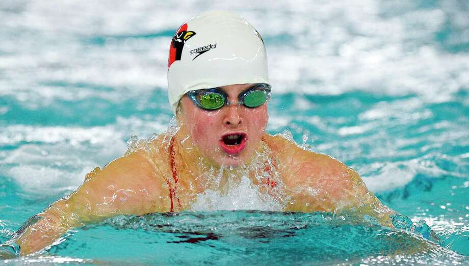 Greenwich's Meghan Lynch competes in the 100 breaststroke in a meet against New Canaan last year at Greenwich High School. Photo: Matthew Brown / Hearst Connecticut Media / Stamford Advocate