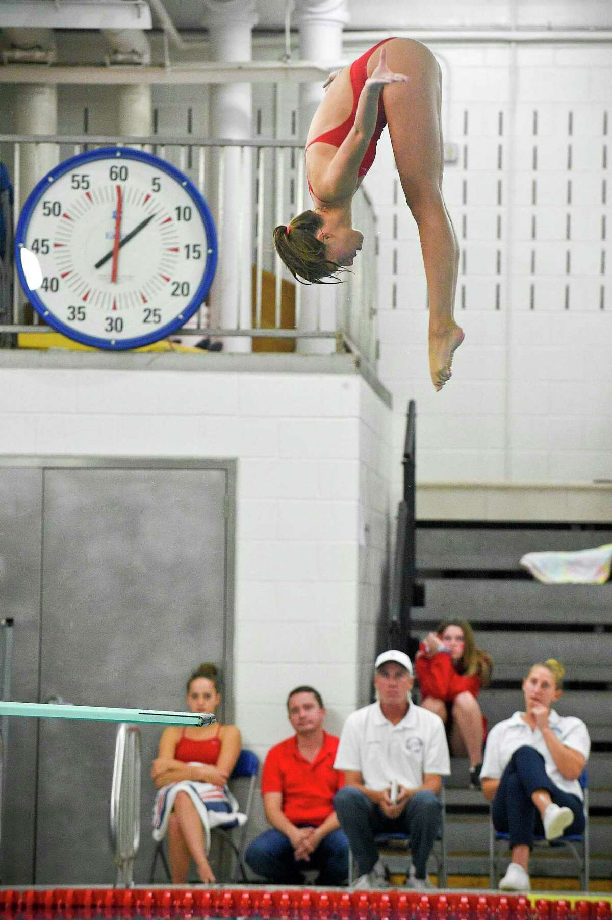 Greenwich's Saylor Kirsch won the CIAC Class LL diving finals at Middletown High School on Wednesday.