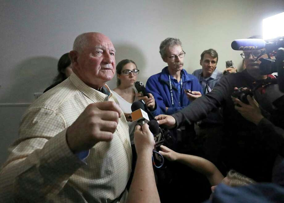 U.S. Secretary of Agriculture Sonny Perdue addresses questions from members of the media following a town hall meeting at the World Dairy Expo in Madison, Wis. Tuesday, Oct. 1, 2019. (John Hart/Wisconsin State Journal via AP) Photo: John Hart / Wisconsin State Journal
