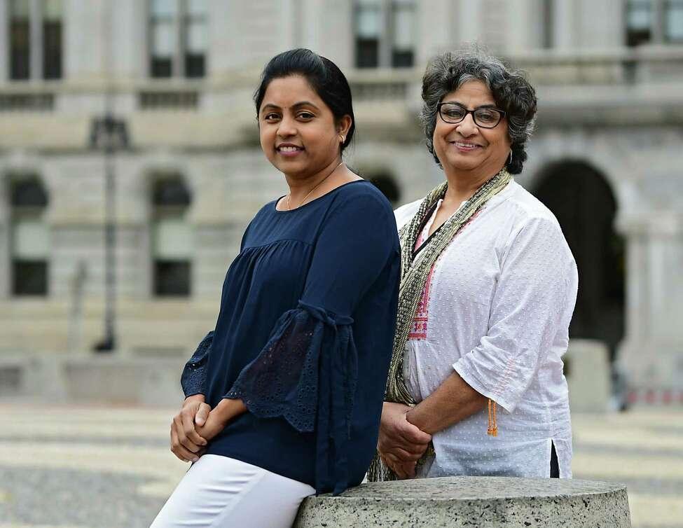 Sireesha Nallamothu, left, and Swarn Dhar on Thursday, Oct. 3, 2019 in Albany, N.Y.The Hindu women are organizing World Peace Day. (Lori Van Buren/Times Union)