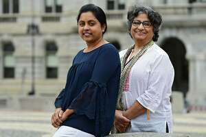 Sireesha Nallamothu, left, and Swarn Dhar on Thursday, Oct. 3, 2019 in Albany, N.Y.The Hindu women are organizing World Peace Day. (Lori Van Buren/Times Union)
