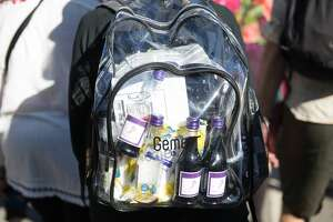 One of the clear backpacks at the Hardly Strictly Blues Festival in Golden Gate Park on October 4, 2019.