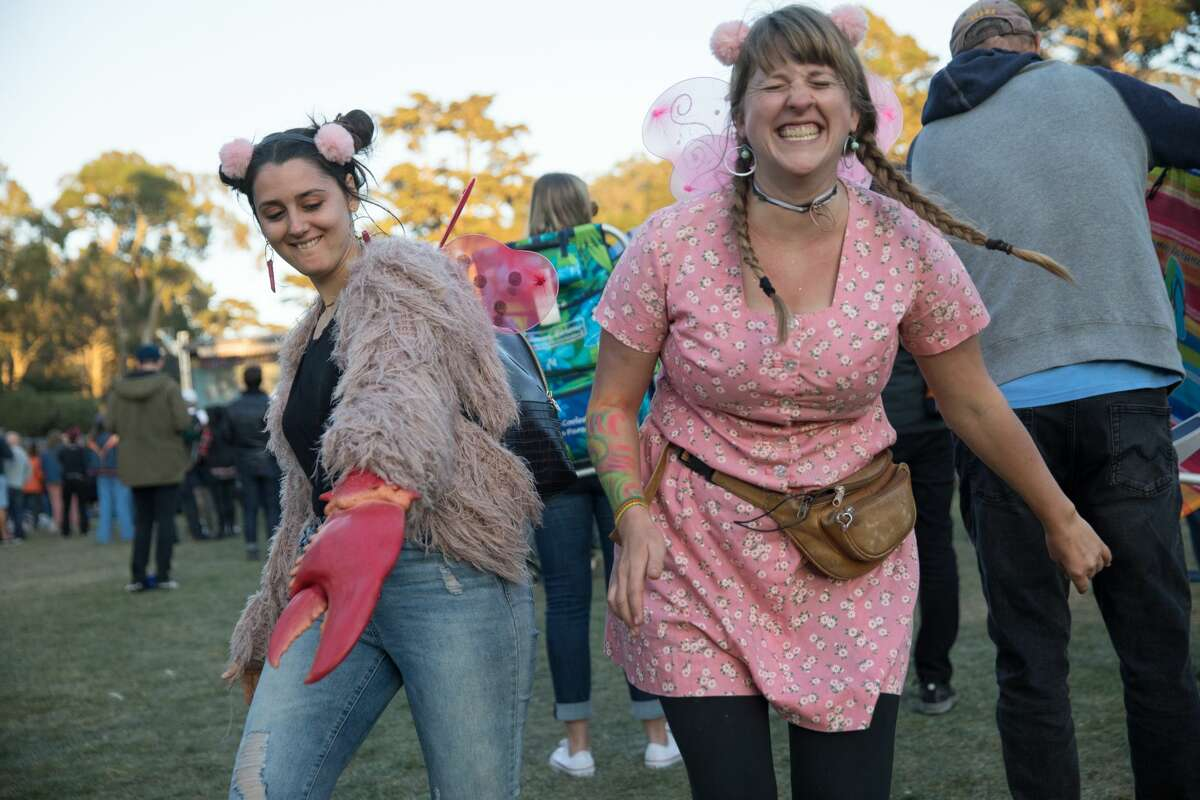 Festival attendees show off their fashion at the Hardly Strictly Bluegrass Festival in Golden Gate Park on October 4, 2019.