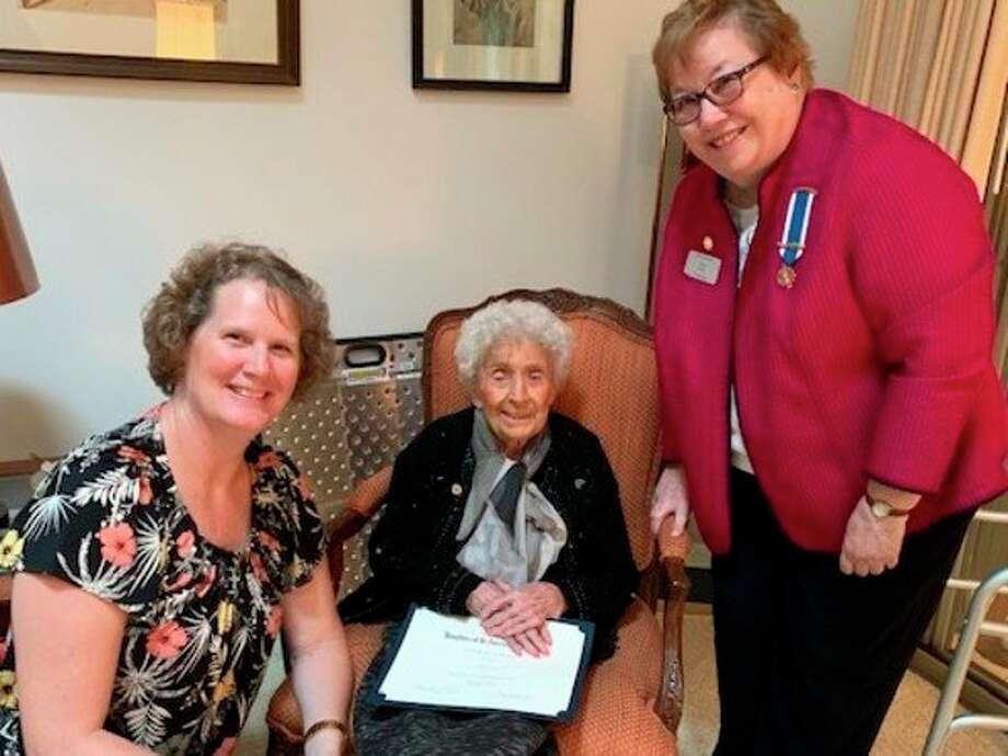 From left, DAR Community Service Chair Nancy Pnacek, Rhea Currie, Vice Regent Karen Miller. (Photo provided)