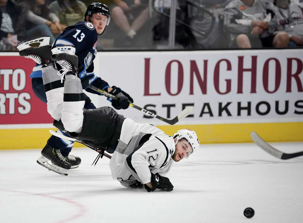 The Manitoba Moose play the San Antonio Rampage during the first period of an AHL hockey game, Friday, Oct. 4, 2019, in San Antonio. (Darren Abate/AHL)