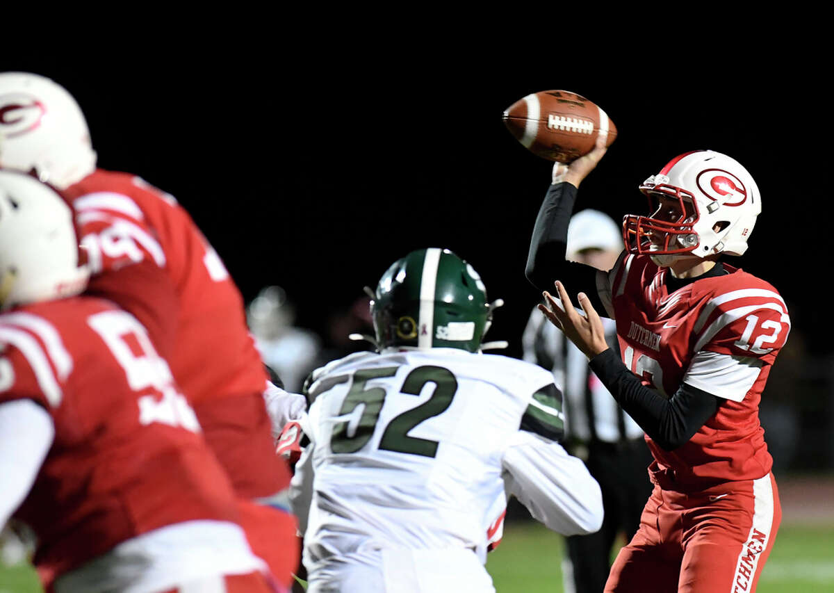 The quarterback threw for 195 yards and one touchdown and added two touchdown runs in a 35-25 loss at Shaker. Here, Broomhall (12) throws a pass against Shenendehowa during game on Friday, Oct. 4, 2019.